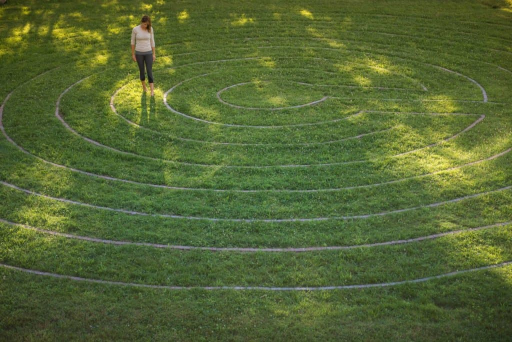 Walking meditation around the outdoor labyrinth at our spiritual retreat center.