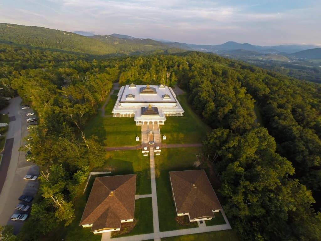 aerial view of meditation hall