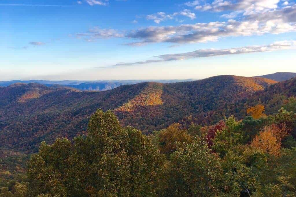 North Carolina Fall Colors in Boone at sunset