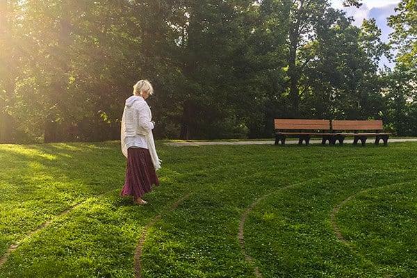 woman walking the maze