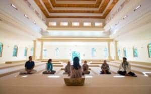 meditating in small meditation hall