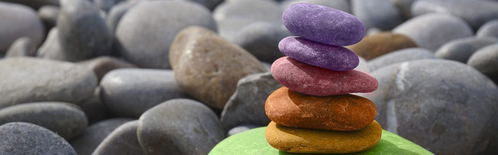 colorful rocks balancing