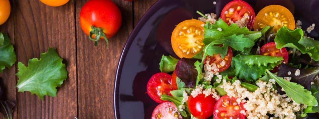 fresh quinoa and greens salad made during Ayurveda class