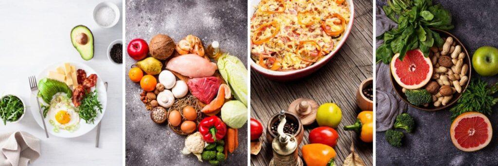 Food representing Keto, Paleo, Vegan, and Raw Foods Diet